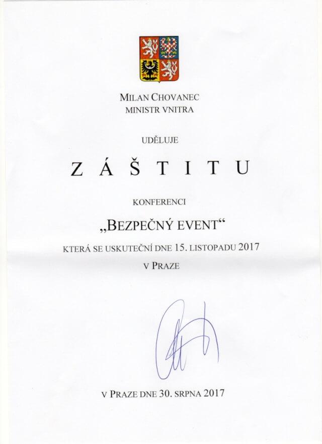 Záštita ministra vnitra ČR